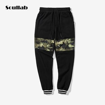 soullab quality camo camouflage patchwork bottom joggers pants for men women hiphop streetwear sweatpants track tactical trouser