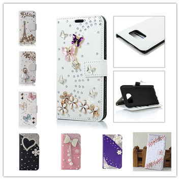 Diamonds Lover Butterfly PU Leather Wallet Pouch Flip Back Case Cover For LG K10 LTE K420N K430 K430ds F670 F670L F670S F670K