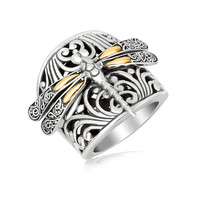 18K Yellow Gold and Sterling Silver Dragonfly and Flourishes Ring: Size 8