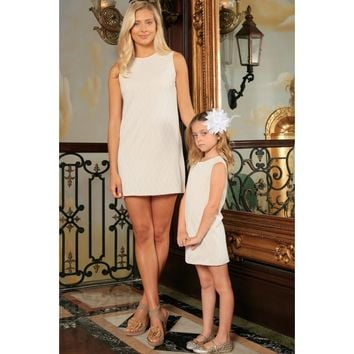 Off-White Stretchy Lace Sleeveless Shift Mommy and Me Party Dresses