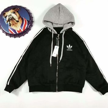 adidas winter three stripe zip up hoodie jacket-1