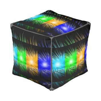 Trendy colorful pattern cubed pouf with art design cube pouf
