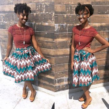 Fall Fever Authentic African Print Skirt
