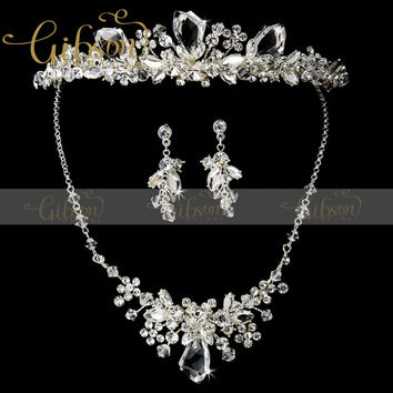 Dramatic Silver Clear Crystal & Ivory Freshwater Pearl Bridal Necklace & Earring Set With Matching Tiara