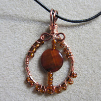 Tiger Eye Pendant Free Form Wire Wrapped Pendant necklace  Antique nontarnish copper wire