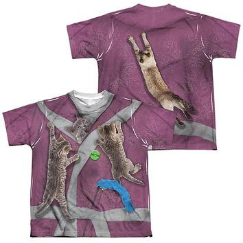 Crazy Cat Lady Halloween Costume Kids T-shirt Front & Back