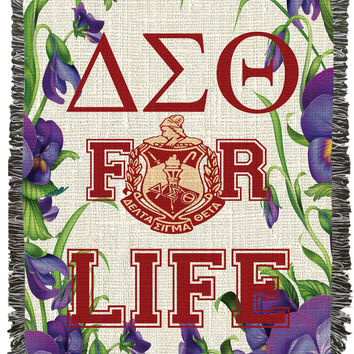 Delta Sigma Theta for Life African Violets Woven Afghan, Blanket, Throw