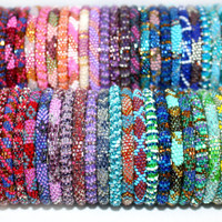 Wholesale Nepal Roll On Bracelets Set of 25, Beadwork Glass Seed Bead Bracelets, Crochet Rollover Bracelets, Ethnic Jewelry, Gypsy Bracelets
