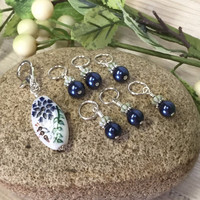 Blue Flower Stitch Marker Holder and Snag Free Stitch Markers for Knitting