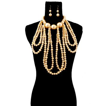 Cream Pearl Necklace Set Featuring Long Draping and Jumbo Pearl Neckline