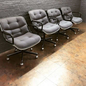 Charles Pollock for Knoll Grey Blue Office Chairs