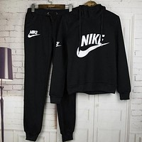 NIKE Adidas Trending Women Leisure Logo Print Hoodie Sweater Pants Two-piece Sportswear Black I
