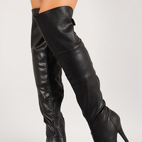 Leatherette Zip Up Thigh High Boot