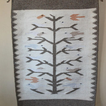 Vintage Tree of Life Wool Navajo Native American rug wall hanging Art Oriental home decor south western