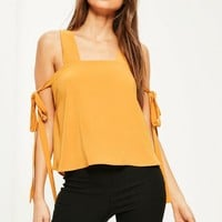 Missguided - Yellow Tie Sleeve Strappy Blouse