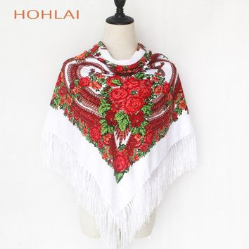 2018 New Fashion Women Heart Printed Tassel Scarve Shawls Russian Big Size Designer Bandana Warm Poncho Stole Scarf