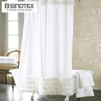 Home Decoration Bathroom Shower Curtain Waterproof Moldproof Solid Polyester Fabric Lace Bath Curtain Elegant Cortina +12 Hooks