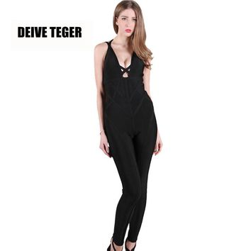 winter Brand New Sexy Solid Color Backless Deep V-Neck Fashion Bandage Rompers Women Jumpsuit
