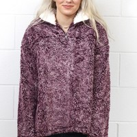 Cozy Up 2-Tone Sherpa Zipper Pullover {Burgundy}
