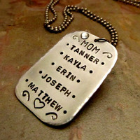 Hand Stamped Personalized Mom Necklace Dog by FiredUpLadiesHammer