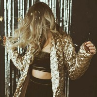 UO Party Time Sequin Belted Blazer | Urban Outfitters