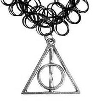 Black Tattoo Choker with Deathly Hallows