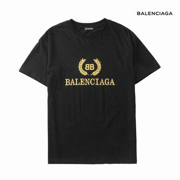Balenciaga 2019 early spring new loose men and women couples wild round neck short-sleeved T-shirt Black
