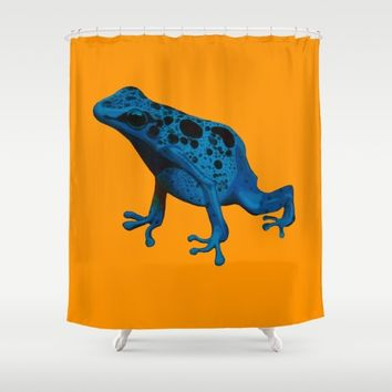 Blue Frog Shower Curtain by Mandi Lynn Prevoteau