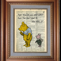 WINNIE The POOH and PIGLET 4 Valentine's Day Valentine's Day Decor Wall Decor Book Page Wall Hanging Gift For Her Him Home Decor