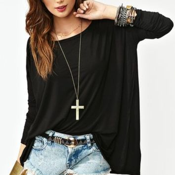 Bamboo Scoop Top - Black