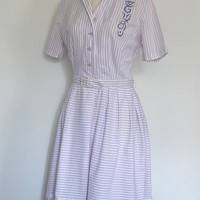 1950s Cotton Dress   lavender checker by roguegirlvintage on Etsy