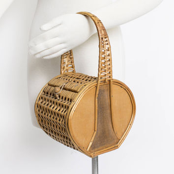 Vintage Basket Purse - 1950s Brown Wood + Wicker Bag