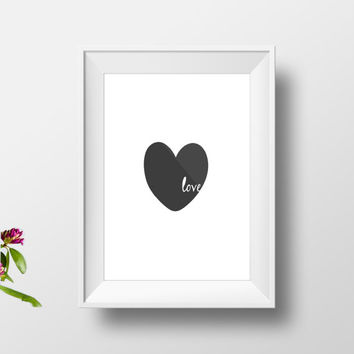 black heart print,modern bedroom decor,home decor,dorm room decor,love poster,valentines day,anniversary gift,gift idea,motivation,wall art