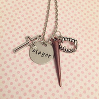 Vampire Slayer Necklace - Fangirl Jewelry - Fandom Jewelry - Buffy The Vampire Slayer Inspired Jewelry - Hand Stamped Jewelry