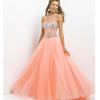Pink by Blush 2014 Prom Dresses - Coral Jeweled Strapless Prom Gown - Unique Vintage - Prom dresses, retro dresses, retro swimsuits.