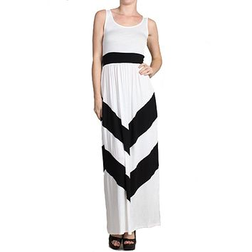 Sleeveless White Scoop Neck Chevron Striped Maxi Dress