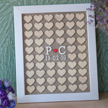 Wedding Guest book, Drop Box, Guest Book Frame, Heart Guest book, Guestbook Picture, Wooden Guest book,  Personalized Guest book