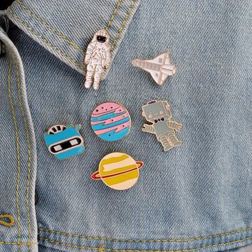 Cartoon Saturn Planet Astronaut Sailing Rabbit Metal Brooch Pins Chain Button Pin Denim Jacket Pin Badge Gift Jewelry #249233