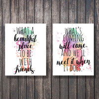 Harry Potter Quote Print, Dobby and Hagrid Watercolor, What a beautiful place to be with Friends, Harry Potter Print, Harry Potter