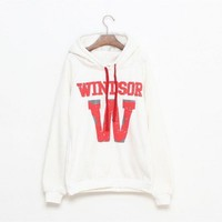 Hooded White long sleeve V-neck red drawstring red letter print hoodie suit  Other type  Print Pop  style zz909009 in  Indressme