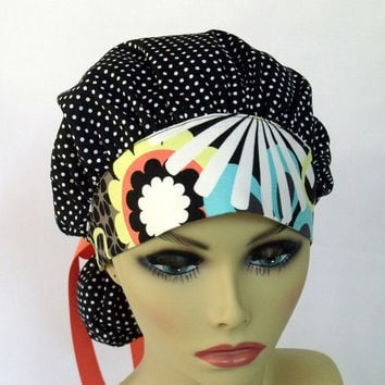 Women's Bouffant Scrub Hat or Cap  Polka Dot with Bold Print Comfort Band
