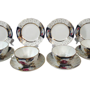 Russian Porcelain Rose Dessert Set, S/12