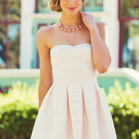 JUN & IVY BANDAGED STRAPLESS DRESS