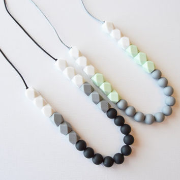 Silicone Teething Necklace-Silicone Nursing Necklace-Fine Motor Skills and Sensory Play/Color Block Combo