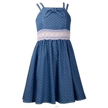 Bonnie Jean-Strapy Princess Seam Fit and Flare Dress, Denim