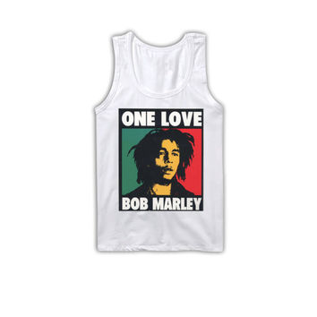 BOB MARLEY One Love Unisex Tank Top White Reggae Music Shirt