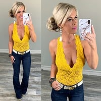 Little Bit of Lace Bodysuit: Sunflower