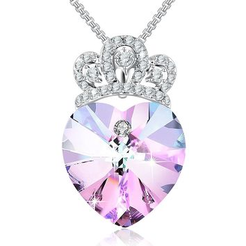 """My Little Princess""Crown Pendant Necklace Love Jewelry Gift for Girl Daughter, Crystal from Swarovski"