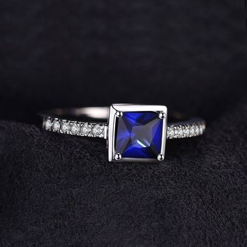 Emerald Cut  0.9ct Created Blue Sapphire Solitaire Ring 925 Sterling Silver