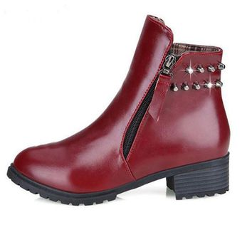 Sherry- Low Heel Ankle Boots with Rivets